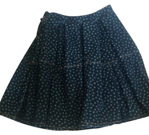 RED Valentino Polka Dot Skirt Blue Denim