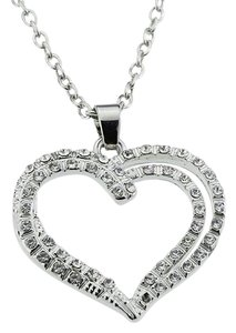 Embolden Jewelry Necklace for Wedding - Iced Out Crystal Open Heart Silver Pendant Chain Gift for Mom on Mother's Day