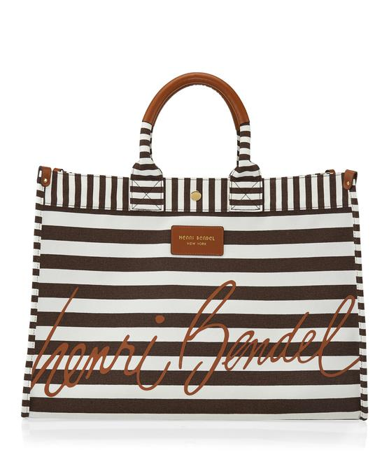Item - Tan Brown & White Striped Canvas Beach Bag