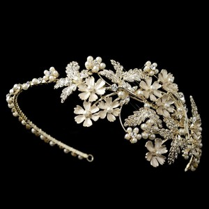 Elegance by Carbonneau Gold/Ivory Plated Pearl and Rhinestone Headband Hair Accessory