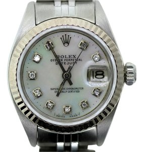 Rolex LADIES ROLEX DATEJUST STAINLESS STEEL WATCH WHITE MOP DIAMOND DIAL