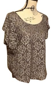 Bobeau Sparkling Metallic Stretchy Curved Neckline Top Silver/grey