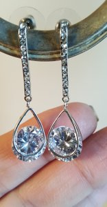 Bridal Cz Tear Drop Earrings Silver Plated
