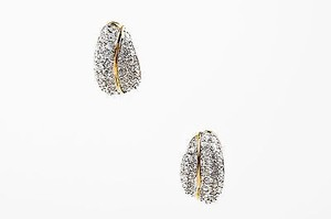 Swarovski Swarovski Gold Tone Crystal Encrusted Clip On Leaf Earrings