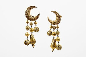 Miriam Haskell Vintage Miriam Haskell Bronze Tone Crescent Moon Beaded Drop Clip On Earrings