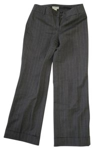 Ann Taylor LOFT Flare Pants Gray Tweed with Pink Stripes