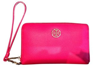 Tory Burch Hot Zip Around & Gold Wallet Wristlet in Red