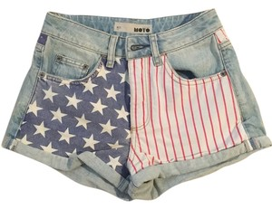 Topshop Cuffed Shorts Blue, Red, White
