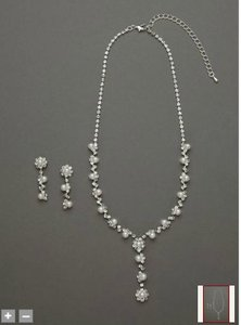 David's Bridal Silver / Pearl Y-neck Flower Drop Style Acs219 Jewelry Set