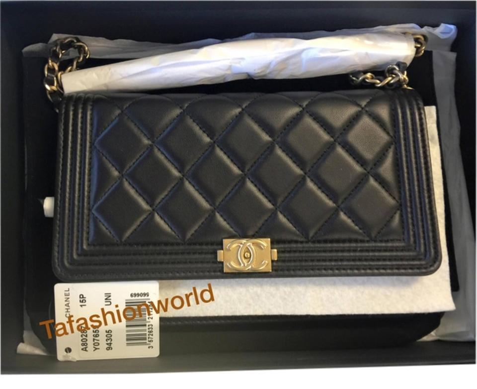 76bb6d3816c7 Chanel Boy Wallet on Chain Le Woc In with Gold Hardware Black Lambskin  Leather Cross Body Bag