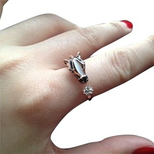 Horse Head Silver & Black Adjustable Ring w/Crystal Accent Free Shipping