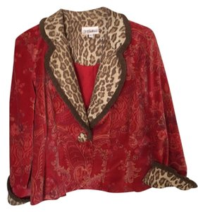 3 Sisters Red with leopard trim . Blazer