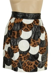 Dolce&Gabbana Dolce & Gabbana Leather A-line Mini Skirt Leopard & White
