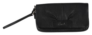 Coach Leather Pebbled Leather Wristlet in Black