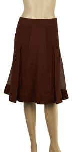 Burberry Silk A-line Size 38 Skirt Brown