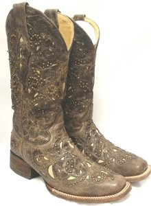 Corral Boots Vintage Brown / Bone Inlay With Studs Boots