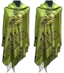 Other Green Butterfly Print Pashmina Wrap Shawl Free Shipping