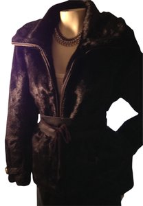 Pamela McCoy Faux Fur Jacket Drawstring Mink Bomber Coat