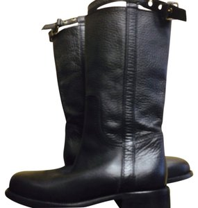 Max Mara Motorcycle Genuine Leather Black Boots