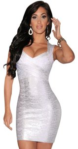 Hot Miami Styles short dress gold silver and black Sexy Shiny on Tradesy