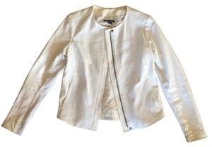 Vince Leather Mesh White Leather Jacket