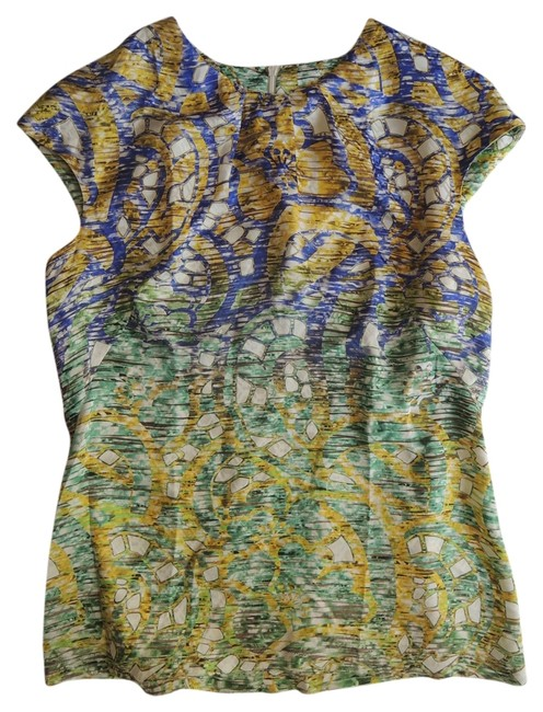 Peter Pilotto Digital Print Cap Sleeve Runway Top multi-color