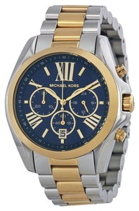 Michael Kors Two tone Blue Dial Unisex Oversized Designer Watch Gold Silver