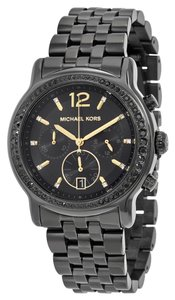 Michael Kors Black Crystal Pave Bezel Black Ion Plated Stainless Steel Designer Watch