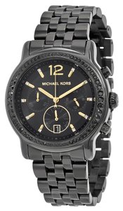 Michael Kors Black Ion Plated Crystal Pave Designer Casual Watch