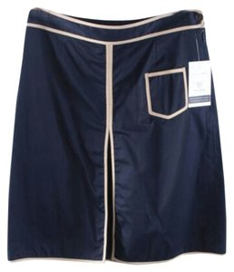 Tory Burch Contrast Skirt Navy & Beige