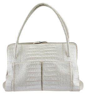 Nancy Gonzalez Linda Metallic Crocodile Tote in White