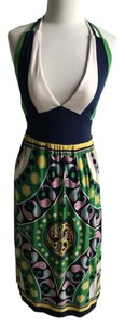 JFW short dress blue, green, white Halter Abstract Printed on Tradesy