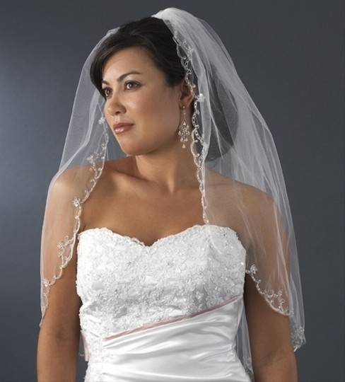 Elegance By Carbonneau White Elbow Length Wedding Veil With Beaded Silver Embroidery