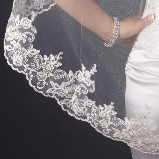 Elegance by Carbonneau White Medium Beaded Embroidery Fingertip Bridal Veil