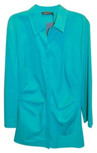Lafayette 148 New York Long Sleeve Cotton Blouse Flattering Fit Button Down Shirt