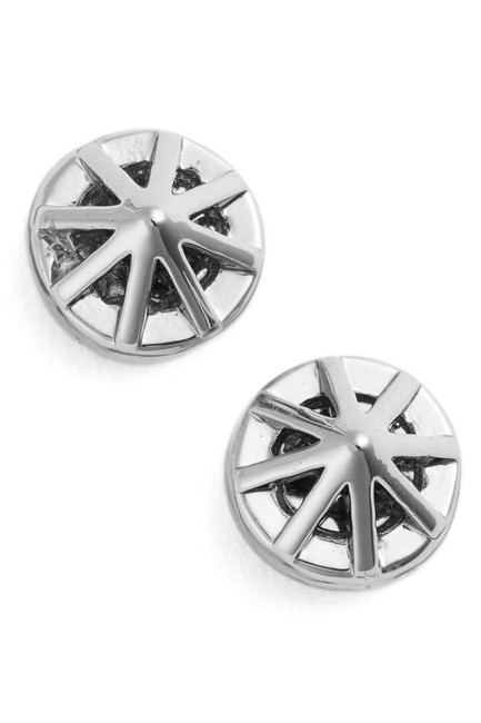 Item - Silver New Rm Petite Caged Button Stud Bag Edgy Earrings