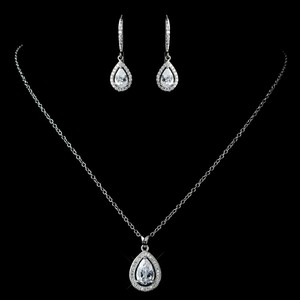 Elegance By Carbonneau Rhodium Plated Cz Pendant And Leverback Earrings
