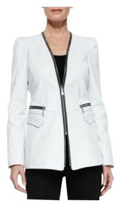 Dawn Levy white pearl Leather Jacket
