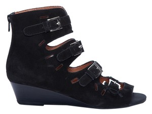 Jeffrey Campbell Low Wedge Strappy Warrior Gladiator Bohemian Black Sandals