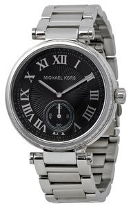 Michael Kors Stainless Steel Black Dial Silver Crystal Pave bezel Ladies Designer Watch