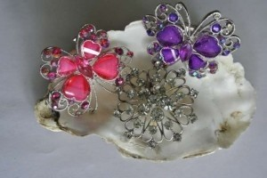 Brooches Three Pink Purple Sliver