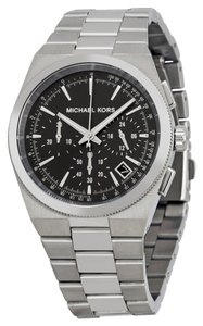 Michael Kors Black Dial Silver tone Stainless Steel mens Designer watch