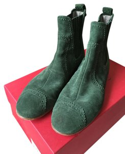 Balenciaga Suede Ankleboot Flatboot Flat Green Boots