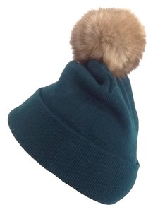 Other Winter Acrylic Dark Green Beanie Hat With Natural Sable Fur Pom Pom One Size Fits All