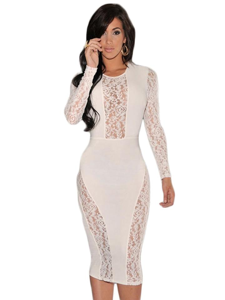 07a36e4aef2a Hot Miami Styles Black Or White Lace Knee Length Night Out Dress Size 4 (S)  - Tradesy