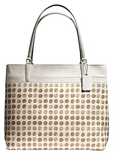 Coach Canvas Tote in Ivory / Tan Multi