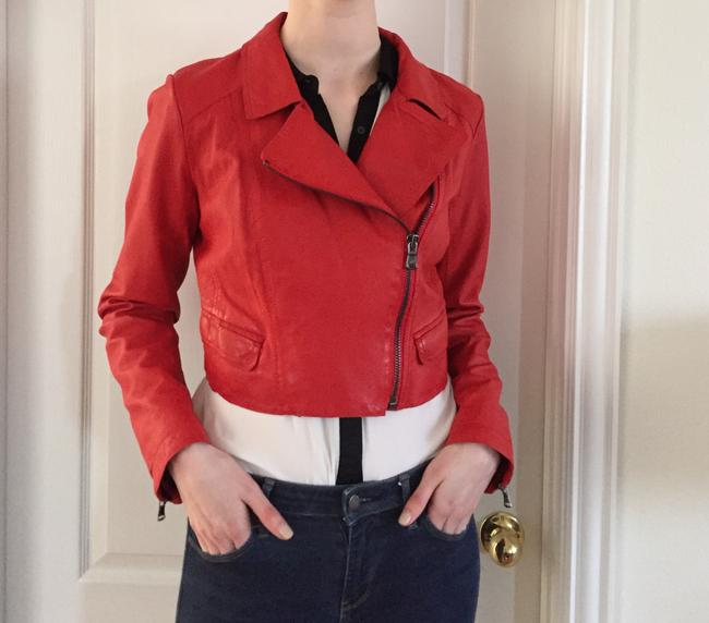 Kenneth Cole Red Moto Jacket Size 8 (M) Kenneth Cole Red Moto Jacket Size 8 (M) Image 3