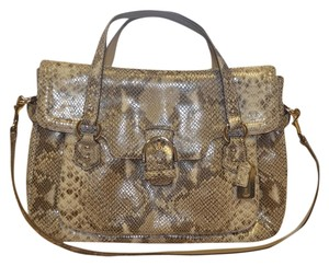 Coach Genuine Leather Satchel in Python tan, brown, white