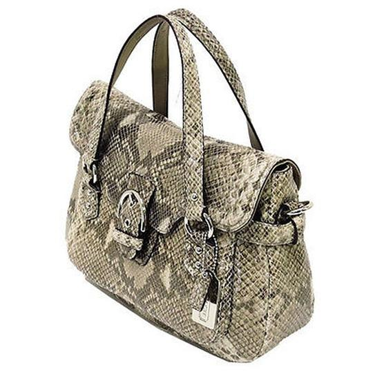 Coach Genuine Leather Embossed Print Nickel Hardware Short & Long Strap #f27501 Satchel in Python tan, brown, white