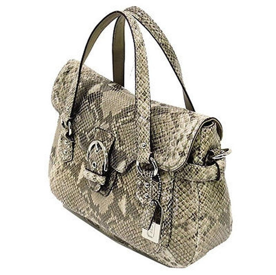 517e8e38c2d Coach Genuine Leather Nickel Hardware Short   Long Strap Embossed Print  Satchel in Python tan,. 123456